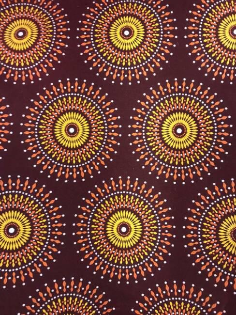 Maroon & Gold Sun Circles Shweshwe fabric