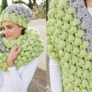 Crochet Puff Stitch Cowl & Beanie