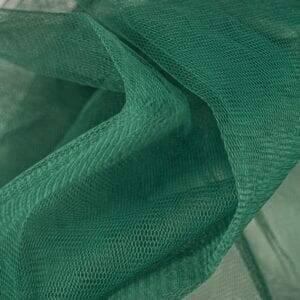 bottle green tulle mesh fabric