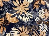 palm designed on printed viscose dress fabric