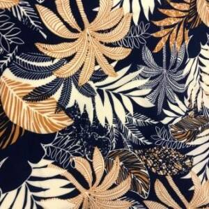 palm designed on printed viscose dress fabric