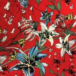 red floral dress fabric