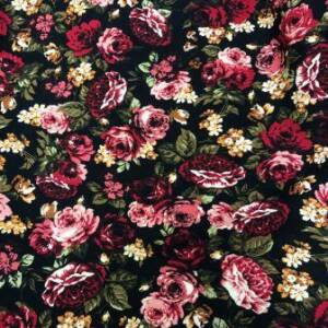fuschia coloured floral print on cotton spandex fabric