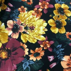 large gold flower printed cotton sateen