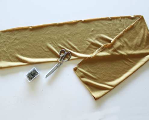 Cutting out the pattern for the inifinity scarf