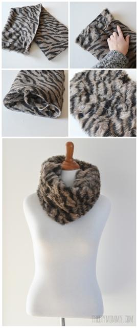 make an easy diy faux cowl scarf